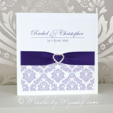 Ribbon Heart Damask Wedding Invitation